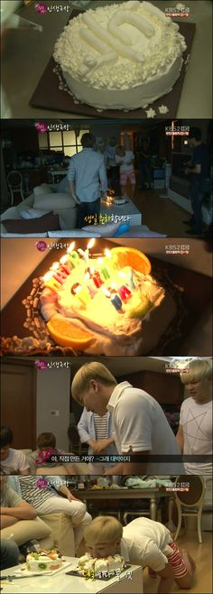 Super Junior members prepare a cake for Leeteuk's birthday :) XD OMG WAE LEETEUK