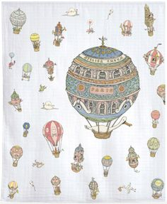 Luxury Organic Swaddle Blanket - Hot Air Balloons Print
