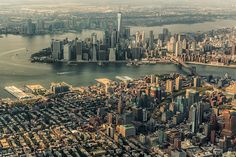 Aerial view of the Island of Manhattan and part of Queens Borough of New York Aerial Photography, Amazing Photography, Urban Landscape, Landscape Photographers, Aerial View, Beautiful Landscapes, San Francisco Skyline, Manhattan, New York Skyline