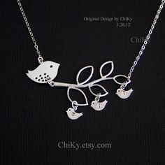 Mama and children  Birds necklace STERLING SILVER  by chiky, $39.00
