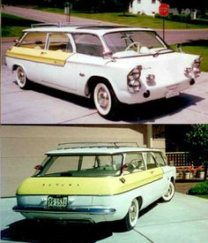 Chevrolet Corvair/Futura Station Wagon, often noted as a concept vehicle but is, in fact, a later homemade custom car created in the mid-1990's and influenced by a Kaiser Waimea design study illustration printed in a 1958 advertisement.