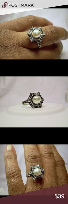 Freshwater Pearl Marcasite Sterling Silver  Ring Gorgeous Solid Sterling Silver Ring Size 7 Genuine Freshwater Pearl Marcasite Jewelry Rings