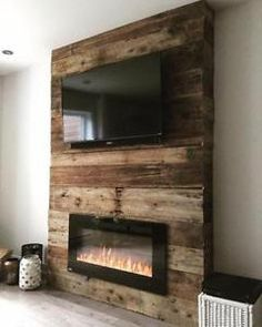Diy Tv Stand With Electric Fireplace.Inspirations: Electric Fireplace Tv Stand Lowes For . Fireplace Accent Walls, Fireplace Tv Wall, Bedroom Fireplace, Fireplace Design, Wall Tv, Fireplace Ideas, Pallet Fireplace, Reclaimed Wood Fireplace, Bedroom Tv Wall