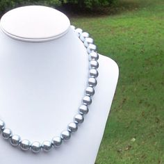 Vera  Gorgeous and Chunky 14mm Round Ice Blue Pearl by Tessyla, $85.00