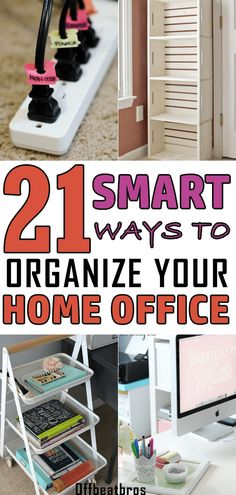 With so many files and stuff, it's not easy to keep a home office organized. But thanks to these home office organization ideas, organizing it has never been so easy. And an organized workplace plays a huge role in improving productivity. Glad I could fin Organisation Hacks, Office Organization At Work, Home Office Setup, Home Office Space, Organized Office, Ikea Organization, Organizing Ideas For Office, Business Organization, Staying Organized