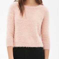 Fuzzy Scream Queens Style Sweater Forever 21 boxy/fuzzy pink sweater. Feels so good and soft on your skin. Not itchy at all! Forever 21 Sweaters Crew & Scoop Necks