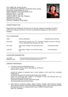 examples of resume for job application