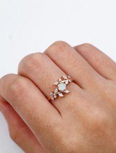 Diamond Cluster Engagement Ring, Gold Engagement Rings, Engagement Ring Settings, Diamond Wedding Bands, Opal Wedding Rings, Morganite Engagement, Flower Wedding Rings, Bohemian Wedding Rings, Elegant Wedding Rings