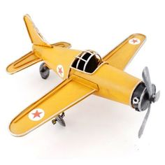 Vintage Antique Handcrafted 6.8 YELLOW AIR PLANE Model