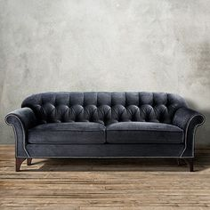 """Both luxurious & inviting, the Arhaus Preston 87"""" Tufted Upholstered Sofa in Vernon Smoke offers comfort & a bit of shine. Handcrafted in America!"""