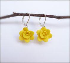 Yellow Daffodil Flower Earrings, White Daffodil Earrings,
