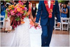 We are living for all of the orange, yellow, and pink colors included in this couple's Indian wedding ceremony outside of Seattle, Washington! | Shane Macomber Photography | Perfectly Posh Events
