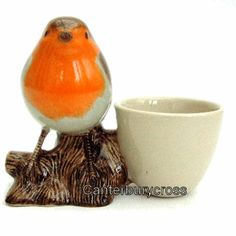 Robin with Egg Cup by Quail Ceramics