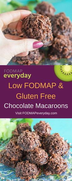 Mmmm Chocolate Macaroons! Moist and packed with coconut and rich with cocoa. Low FODMAP at 1 macaroon per serving. Easy to make and keep moist for days. #fodmapdiet #lowfodmap #ibs #glutenfree #dairyfree #vegetarian