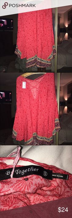 Cute summer dress Pink with black design. Brand new never worn by together Dresses Midi