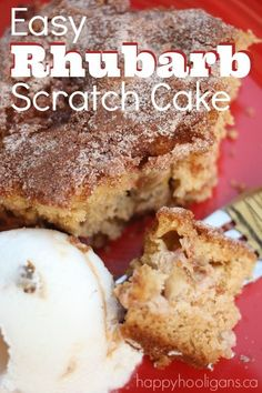 Easy Rhubarb Scratch Cake - One of the best rhubarb cakes around.  Easy to make, and the whole family will love it.  Happy Hooligans