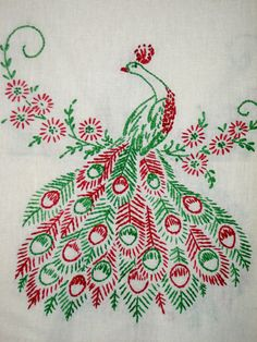 Embroidered peacocks table runner dresser scarf by sweetalicelovesyou, $22.00