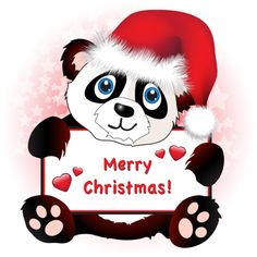 iCLIPART - A cute cartoon panda wearing a Santa hat holding a banner with hearts and Merry Christmas wishes.
