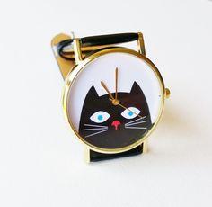 Black Cat Wrist Watch - cat jewelry, kitten watch, womens watches, hipster watch, unique watches, black watch, cute watch, animal watch by FeathersandStars on Etsy