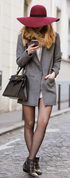 #street #fashion gray blazer + burgundy color pop @wachabuy