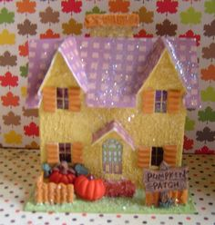 putz houses | Fall Village Paper putz style House