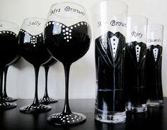 Bridal Party Collection Bridesmaid wine glasses & Tuxedo Pilsner Groomsmen glasses.