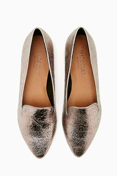 Metallic loafers.