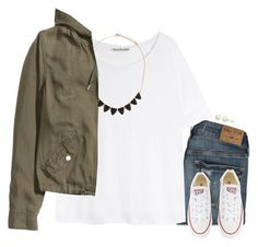 """""""Casual in Converse"""" by gourney ❤ liked on Polyvore featuring Hollister Co., Converse, Honora, Acne Studios, Forever 21, H&M and converse"""
