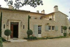 farmhouse retreat in Provence: Domaine Laurentine love the shutter color with the rock exterior French Country House, French Farmhouse, Restored Farmhouse, Provence Style, Provence France, Villa, Old Farm Houses, Stone Houses, Exterior Design