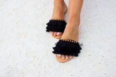 RiRiPoM Fringe Sandals Boho Sandals Black Sandals Gypsy Pom Pom Sandals, Tie Up Sandals, Boho Sandals, Fringe Sandals, Greek Sandals, Black Sandals, Craft Accessories, Summer Shoes, Cute Shoes