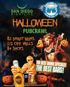 San Diego Halloween Pub Crawl 2017 Tickets - Enjoy a franken-tastic Halloween pubcrawl at Taste & Thirst. Grab your best costumes and enjoy amazing drink specials, $3 Beers Before 10PM & $3 After, 2-for-1 Well Drinks, and $4 for shots.