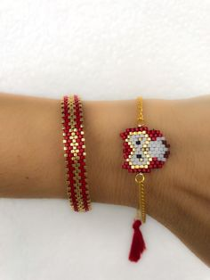 Miyuki beaded red owl bracelet set unique stylish animal bracelet designed bracelet chic bracelet for women gift for girlsThis pin was discovered by sul – Artofit Jewelry Patterns, Bracelet Patterns, Bracelet Designs, Beaded Earrings, Beaded Jewelry, Beaded Bracelets, Embroidery Bracelets, Jewellery, High Jewelry