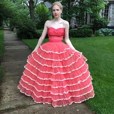 50's Vintage Prom Dress Gown Long Coral Pink by FlowerGirlsandMe