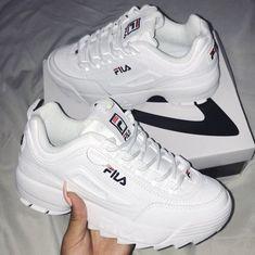 "Tenis ""Fila"" en fondo blanco y letras en negro y rojo. Source by shoes Sock Shoes, Cute Shoes, Me Too Shoes, Shoe Boots, Shoes Heels, Mode Adidas, Sneakers Fashion, Fashion Shoes, Aesthetic Shoes"