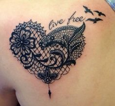 Live free lace heart birds