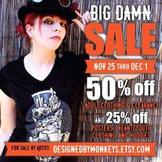 Serious blowout sale! I'm putting ALL of my Adult tees and clearance items 50% off! And my Gig Posters infant/youth clothing and Hoodies 25% off.  http://etsy.me/1Ml7hD1  Perfect gifts for all your needs. And you're supporting a small business illustrator and designer. And I'm an excellent dude. Promise.  November 25th (Black Friday) through midnight on December 1st.  Black Friday! Small Business Saturday. AND Cyber Monday. #blackfriday #smallbusiness #artistowned #smallbusinessowner…