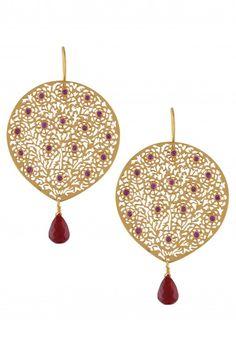 Silver Red Onyx Floral Jaali Earrings