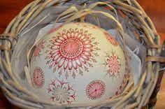 Střep PŠTROSÍ kraslice - zabroušený, malovaný
