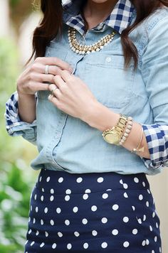 Gingham button down under chambray + navy polka dots skirt. Perfect subtly mixed prints!