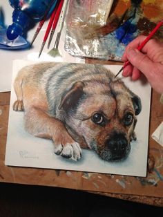How to Paint a Dog by Rollie Brandt: Pretty sure mine wouldn't even come close. #Art #Painting #Dog_Portrait