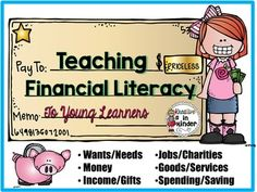 Financial Literacy for Young Learners! This set covers many math and social studies objectives. You can use individual pages as posters, to create a book, or cut to put in pocket charts. There are recording sheets for each topic, too. Topics include: income/gifts, entrepreneurs, community jobs, banks/money/savings, goods/services, and more! $