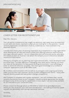 How To Write A Good Cover Letter For Receptionist Job   Job Cover Letter