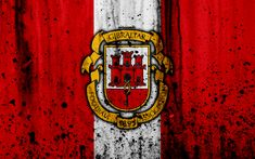 Download wallpapers Gibraltar national football team, 4k, logo, grunge, Europe, football, stone texture, soccer, Gibraltar, European national teams