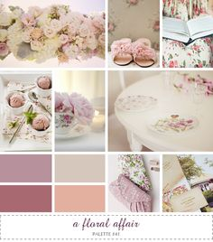 Floral. Muted pink, blush, mauve, peach, ivory.