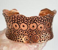 Stamped Copper Cuff Bracelet Anticlastic Cuff Exotic by FebraRose