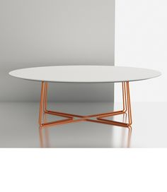 """A minimalist """"C"""" shaped design. This shape will fits over sofa and chair arms for practicality, or can be place in an arrangement with smaller tables for an eclectic look! Furniture Dining Table, Dining Room Table, Cool Furniture, Furniture Ideas, Furniture Design, Living Area, Living Room, Oval Coffee Tables, Center Table"""