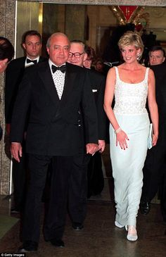 Princess Diana with Mohammed Al Fayed attending a charity dinner for the Harefield Heart Unit held at Harrods, London, February Diana wears a pale blue Catherine Walker dress. (Photo by Jayne Fincher/Getty Images) Princess Diana And Dodi, Diana Dodi, Princess Diana Funeral, Princess Diana Photos, Princess Diana Fashion, Princes Diana, Real Princess, Princess Of Wales, Dodi Fayed