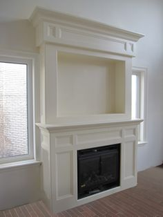 fireplace mantel used high on wall | Wall Mount Electric Fireplaces · Built-In Electric Fireplaces ...