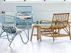 #fauteuil #rotin #bleu