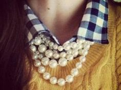Pearls,gingham,sweater by georgette
